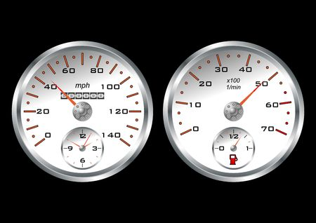 rotations: White dashboard car isolated over black background Stock Photo