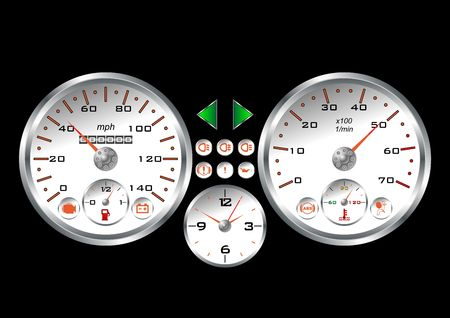 White dashboard of a sport car over black background Stock Photo - 2902694