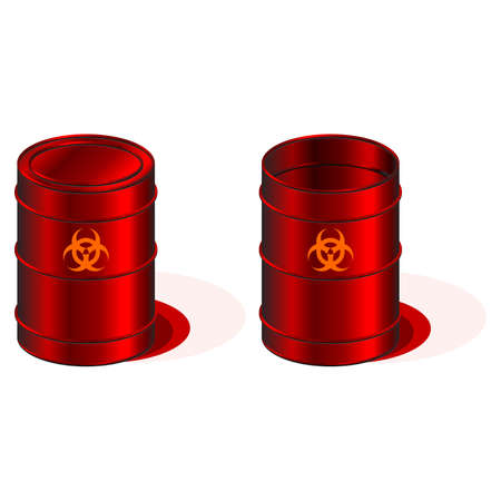 infectious waste: Open and closed barrels with biohazard symbol