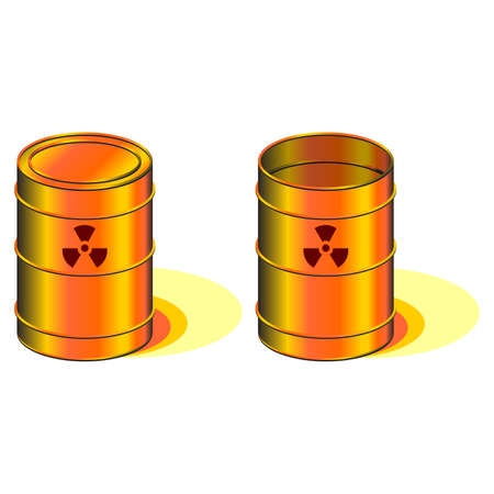 disastrous: Open and closed barrels with radioactivity symbol Stock Photo