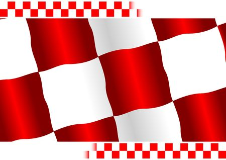 Red checkered flag with white copy space at top and bottom Stock Photo - 2997131