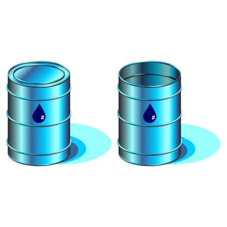 Open and closed barrels with water drop symbol Stock Photo - 2997134