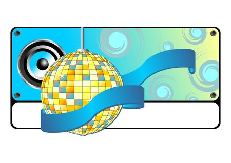 Blue party banner with mirror ball speaker and ribbon photo
