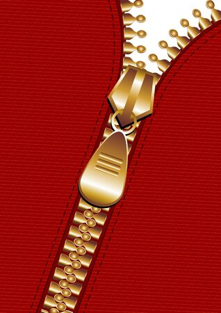 Gold zipper in a diagonal line over red fabric photo
