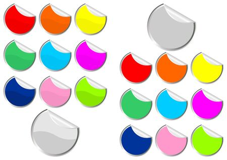 distinguish: Promotional stickers with different colors and curl over white