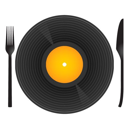 Conceptual. Music and food with vinyl record, knife and fork photo