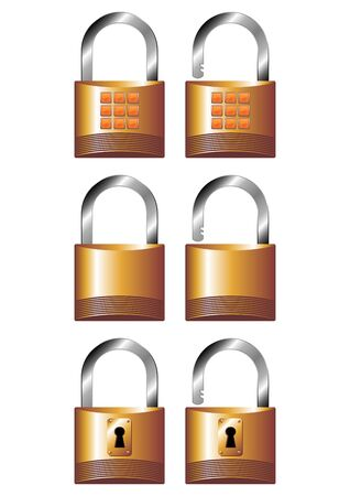 Different opened and closed padlocks over white background Stock Photo - 3032252