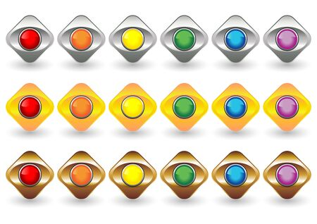 Eyeball buttons with different colors and metallic frame over white background photo