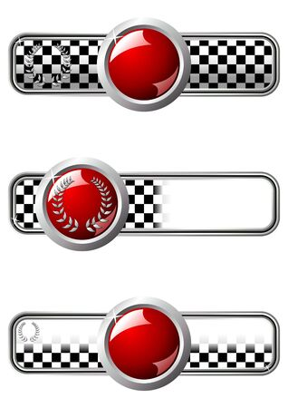 adrenalin: Different race badges with red round gem over white background
