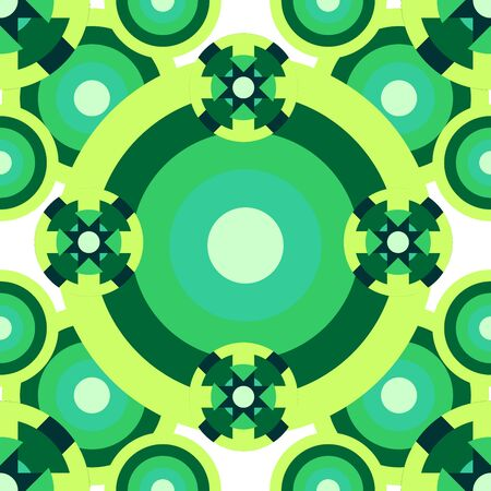 uniformity: Psychedelic seamless green circles pattern over white