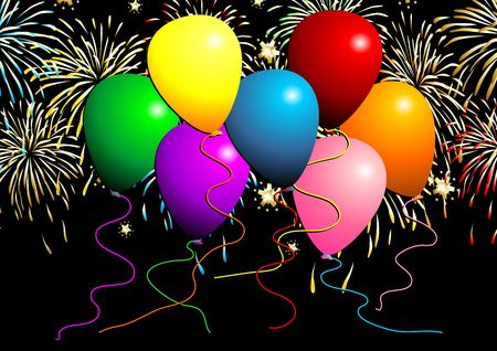 Set of flying balloons and fireworks over black background Stock Photo - 3134557