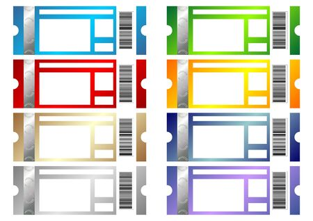 Event tickets of many colors with copy space isolated over white Stock Photo