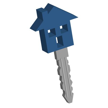 Conceptual house key isolated over white background Stock Photo - 3170113