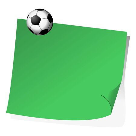 Post it note with magnet soccer ball over white background photo