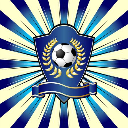 Soccer shield theme over colorful striped background photo