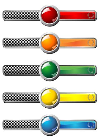 conquering: Different colors race badges with round gem over white background