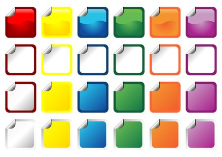 detach: Promotional square stickers with different colors and curl over white