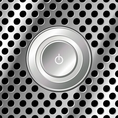Power button over square metallic look surface photo