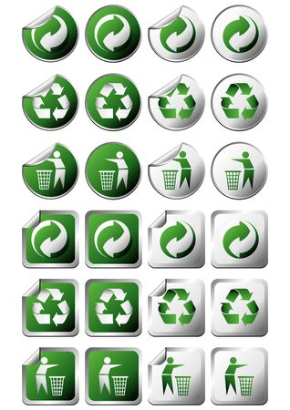 Square and round recycle symbol stickers with and without curl photo