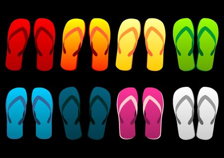 Beach sandals set. Different colorful flip-flops over black background Stock Photo - 3292792
