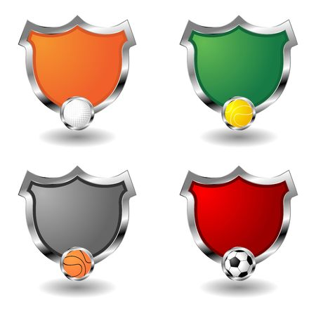 Empty sport badges over white. Ornamental shields. photo