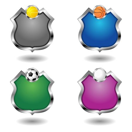 Empty sport badges set. Ornamental shields over white. photo