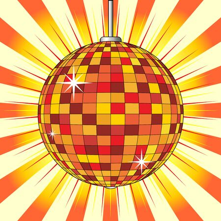 Party mirror ball over orange starry background photo