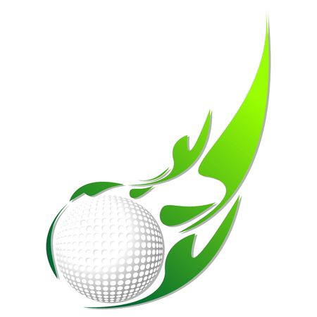 Golf ball with green effect isolated over white background photo