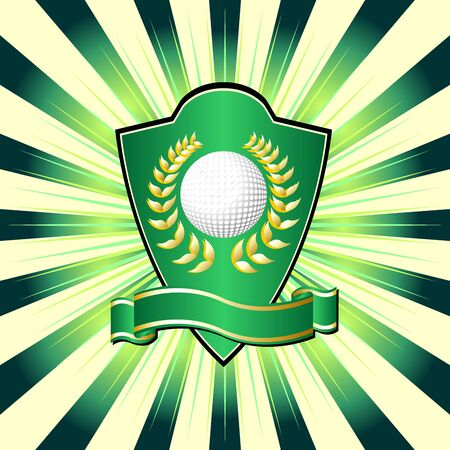 Golf shield theme over colorful striped background photo