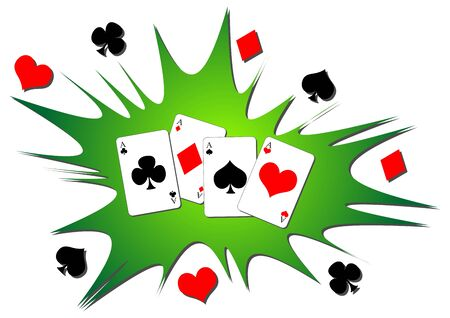 Playing cards splash. Four aces poker hand background.