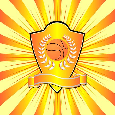 Basketball shield theme over colorful striped background photo