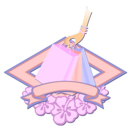 Feminine arm holding shopping bags over logo with flowers and ribbon photo