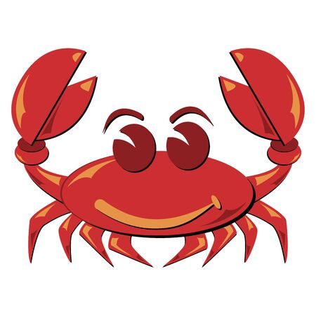crab cartoon: Seafood. Shellfish. Crab illustration isolated over white. Stock Photo