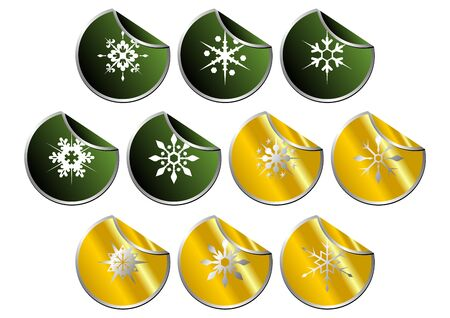 detach: Snow crystals stickers set over white background Stock Photo