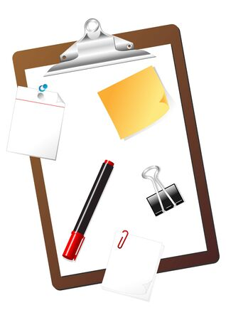 Different stationary items isolated over white background photo