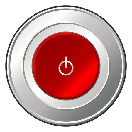 Metallic and ruby red power button over white