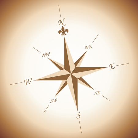 treasure map: Wind rose over brownish and white gradient background