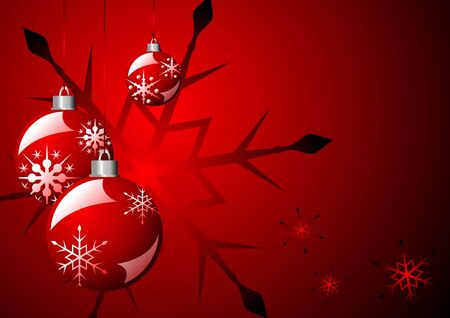 Christmas balls and snow crystals over red background Stock Photo - 3638986