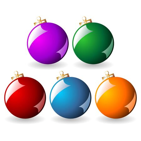 Christmas balls with different colors isolated over white background photo