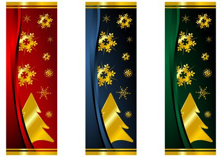 Different Christmas banners with snow crystals and trees Stock Photo - 3646505