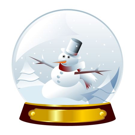 Christmas snowman inside crystal ball over white Stock Photo - 3675127