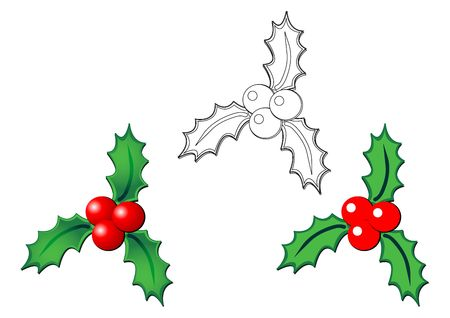 Christmas holly with and without gradient and only with a stroke photo