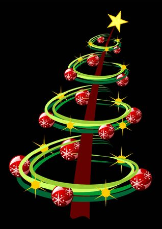 ornamented: Ornamented christmas tree isolated over black background Stock Photo