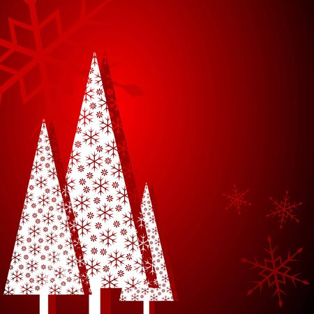 Stylized christmas trees over gradient red background photo