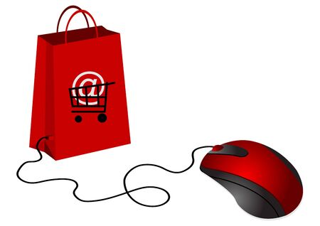 analogy: Shopping bag and computer mouse. Analogy to electronic commerce.