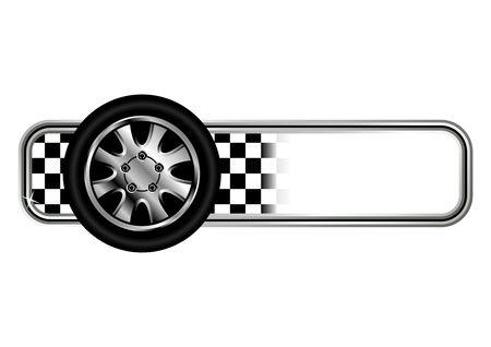 checker flag: Carrera de insignias con los neum�ticos m�s de fondo blanco