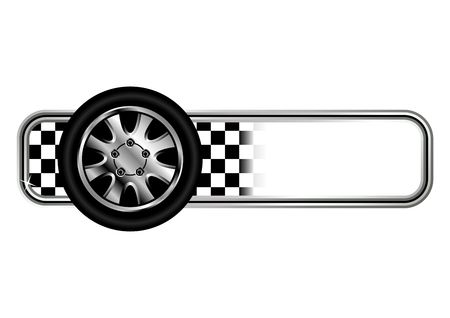 flag vector: Race badges with tyre over white background