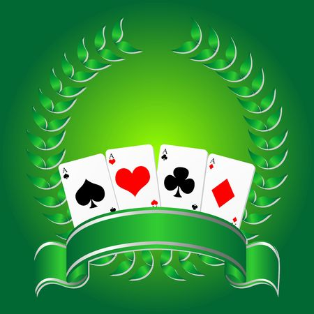 Playing cards with ribbon and laurel crown Stock Photo - 3829376