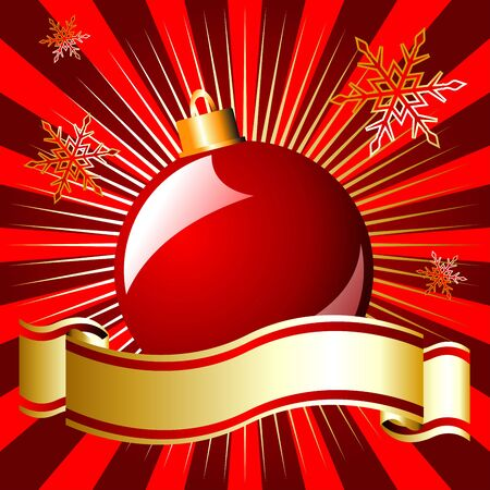 Christmas ball and ribbon over starry red background Stock Photo - 3858389