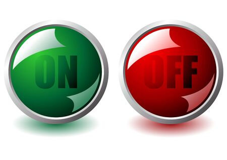 On and off interface round buttons over white Stock Photo - 3984456